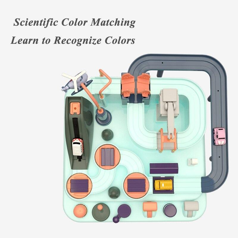 Bébé brillant éducation wagon jouet écologique bébé aventure jouet voiture Macaron couleur Table jeux garçon et fille Puzzle jouets - 5