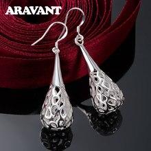 2020 nouvelle arrivée 925 argent creux larme longues boucles d'oreilles de mariage bijoux pour femmes cadeaux