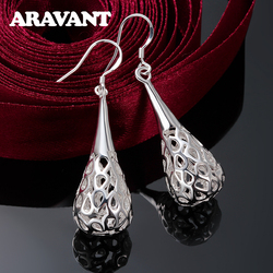 2020 New Arrival 925 Silver Hollow Teardrop Long Earrings Wedding Jewelry For Women Gifts