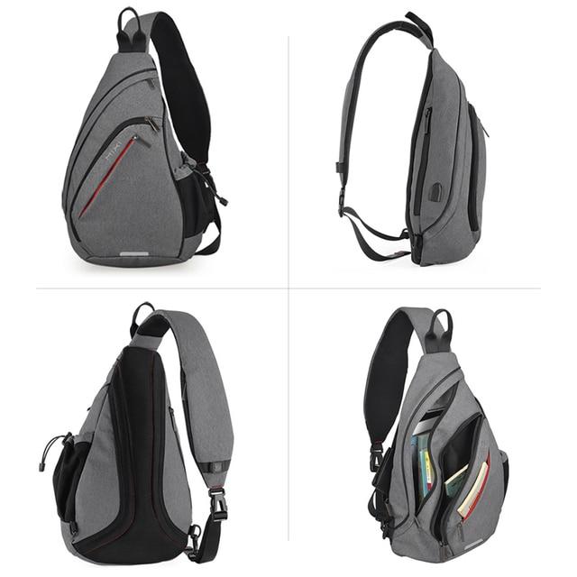 Mixi Men One Shoulder Backpack Women Sling Bag with USB 2