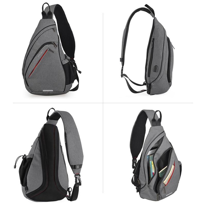 Mixi Men One Shoulder Backpack Women Sling Bag Crossbody USB Boys Cycling Sports Travel Versatile Fashion Bag Student School
