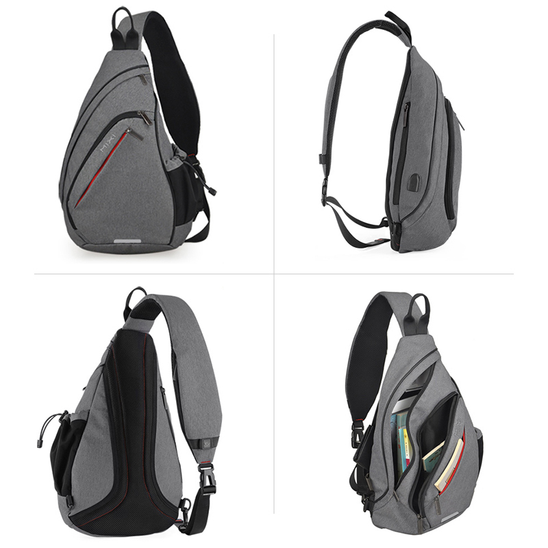 Image 2 - Mixi Men One Shoulder Backpack Women Sling Bag USB Boys Cycling 