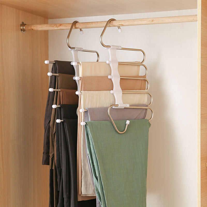 Luckycyc Multi-Layer Pants Rack Multi-Function Plastic Hanging Pants Hanger Pants Hanging Storage Shelf Home Wardrobe Pants Rack