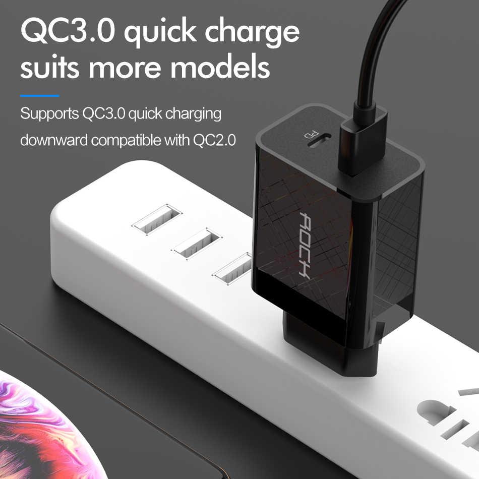 روك PD QC 3.0 FCP شاحن USB مزدوج 36 واط تهمة سريعة آيفون 11X8 plus سريع شحن الهاتف المحمول الجدار شاحن السفر