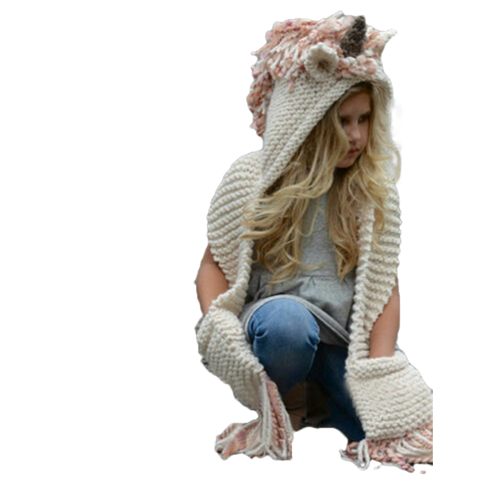 Adult Children Unicorn Hat With Scarf Autumn Winter Warm Hooded Knitted Wool Shawl Cap Beanie Casual Ladies Thick Warm Scarf