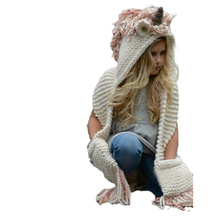 Adult Children Unicorn Hat With Scarf Autumn winter Warm Hooded Knitted Wool Sha