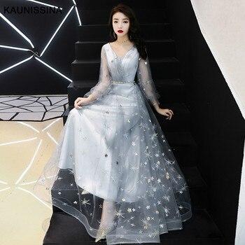 KAUNISSINA Evening Dress Elegant Banquet Dress V-Neck Long Sleeve Wedding Birthday Party Prom Vestido Evening Gowns
