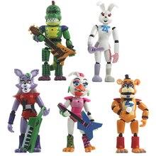 5 pçs/set cinco noites em freddys figuras de ação brinquedo segurança violação série foxy bonnie fazbear pvc bonecas fnaf para presentes do miúdo