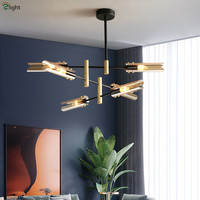 Nordic lustre sala de estar e27 led lustre placa vidro tons luminarias lustre haste iluminação pendurado luz interior da lâmpada