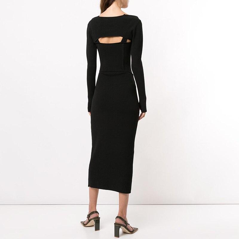 Женский комплект из двух предметов vgh черный платье с квадратным