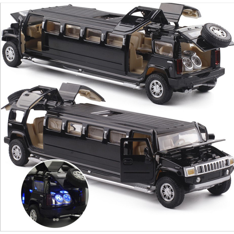 High Simulation 1:32 Alloy Hummer Limousine Metal Diecast Car Model Pull Back Flashing Musical Kids Toy Vehicles Free Shipping