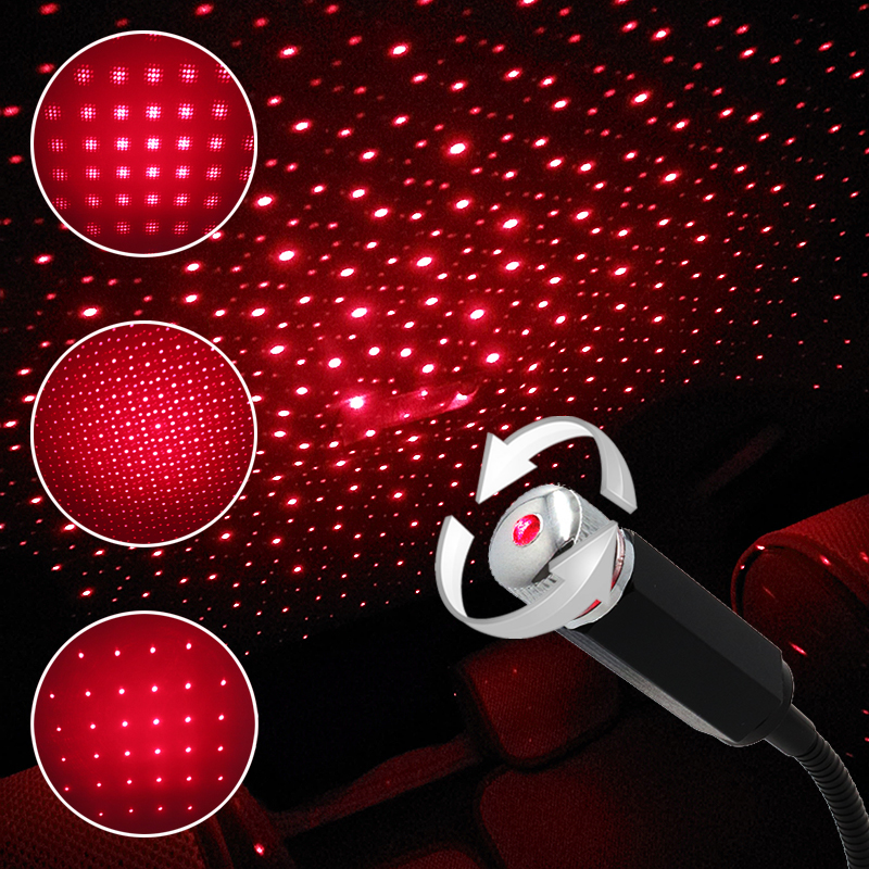 Car USB LED Car Atmosphere Ambient Romantic Star Projector Light DJ RGB Colorful Nigth Lamp Christmas Interior Decorative Light