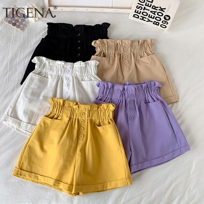 TIGENA Elastic High Waist Cotton Shorts Women 2020 Summer Korean Simple Shorts Female Button Pocket Short Pants Women Yellow