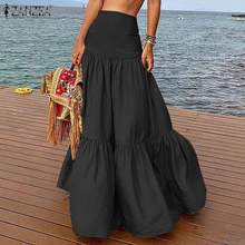 ZANZEA Women Summer Long Maxi Skirts Ruffles Skirts 2020 Ele