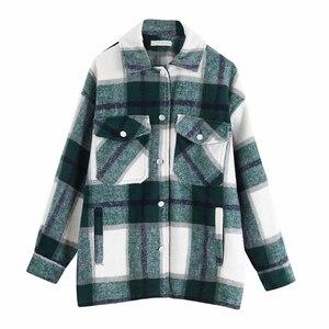 Image 5 - ฤดูหนาวของผู้หญิงเสื้อลายสก๊อตขนาดใหญ่กระเป๋าเสื้อOutwearเสื้อผ้าสำหรับสตรีRopa Mujerผู้หญิงเสื้อและเสื้อ