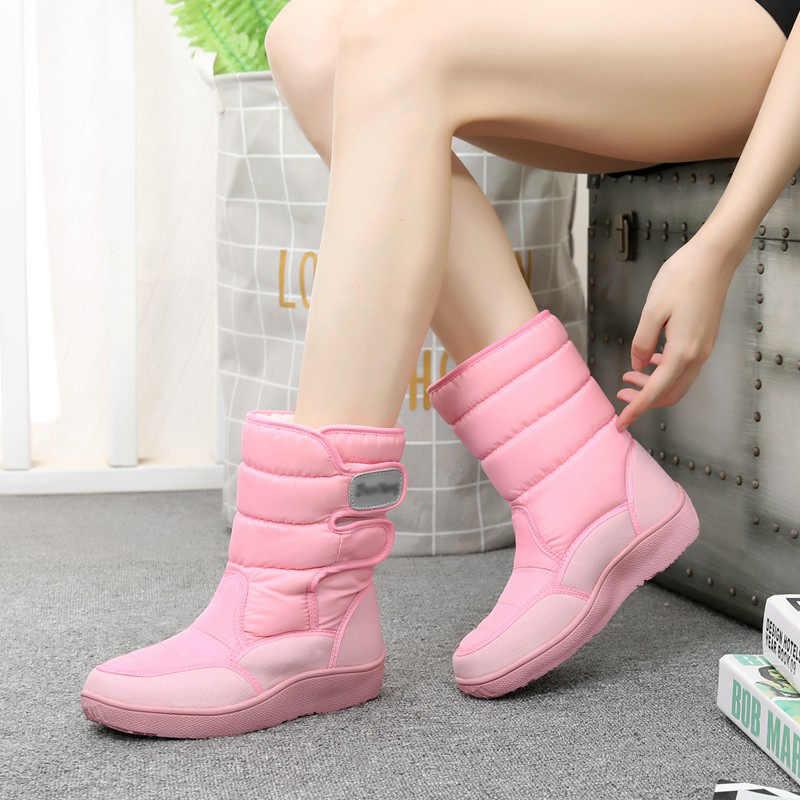 2019 yeni kar botları kışlık botlar kadın botları sıcak orta buzağı çizmeler kadın kışlık botlar su geçirmez Bota kadın patik botas Mujer