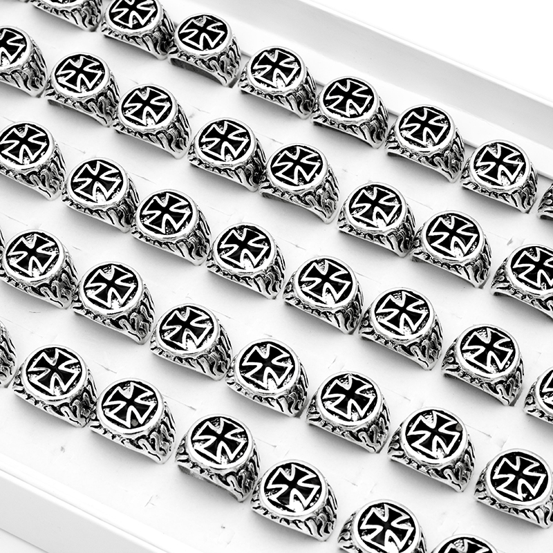 20 Pieces/Lot Black Enamel Cross Rings Vintage Men Rings Party Gift 2021 New Fashion Jewelry