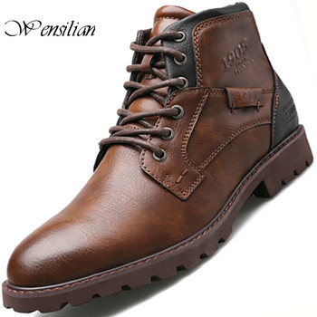 Vintage Ankle Boots Men Casual Shoes Leather Winter Lace Up Footwear Fashion Snow  Round Toe Men's Boot Botas Hombre - discount item  50% OFF Men's Shoes