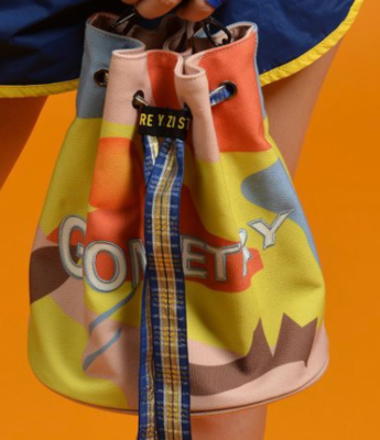 TANTO 2019 Fashion Original Canvas Printed Lady's Hand Bill Of Lading Shoulder Girdle Mouth Bucket Bag Wide Ribbon Backpack New