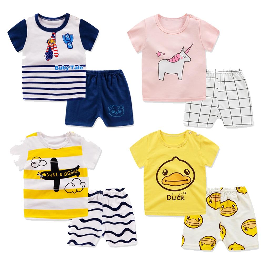 Children Clothes Summer New Short Sleeevd Tshirts + Shorts Suit Cute Cartoon Animal Clothing Set Baby Boys Girls Cotton Pajamas
