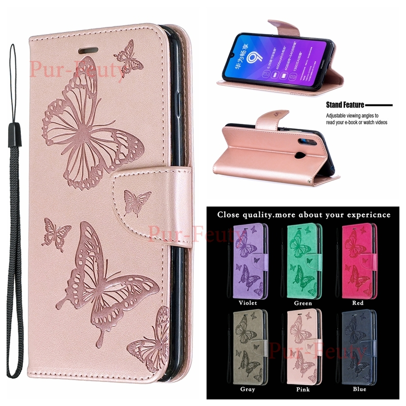 Case On For Huawei Y7 2019 DUB LX1 LX2 L22 Wallet Butterfly Stand Flip Leather 3D Butterfly Cover For Huawei Y7 2019 Y 7 2019 image