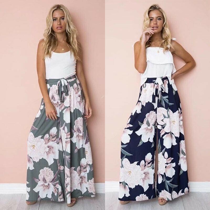 Beach holiday woman Culottes   Wide     leg     pants   floral print loose Beach long   pants   high waist   pants   bandage belt   pant   S-XL