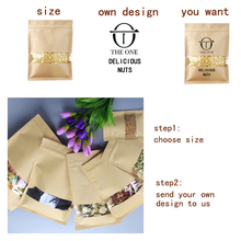 Gift bags high quality kraft paper trademark printing 1 PC  beans bag zipper heat sealing retail