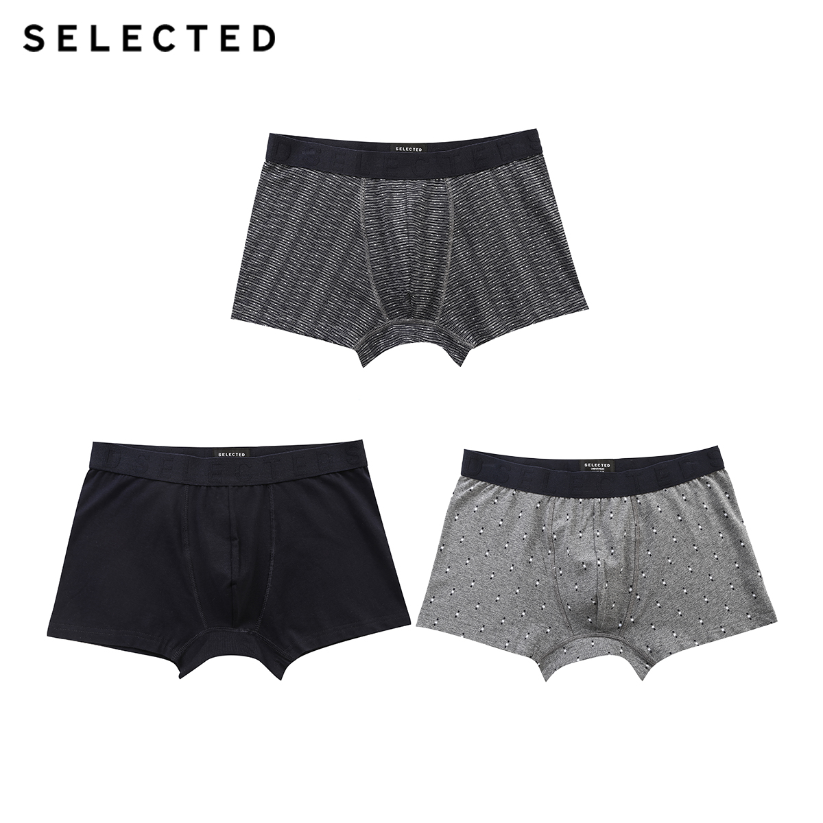 SELECTED Men's Stretch Cotton Printed 3-pack Boxer Shorts A|419192503