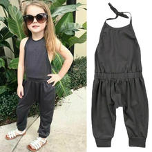 Kid Baby Girl Summer Romper Backless Playsuit Sleeveless Solid Lace Up Casual Outfits For Kid Girl 2-6Years(China)
