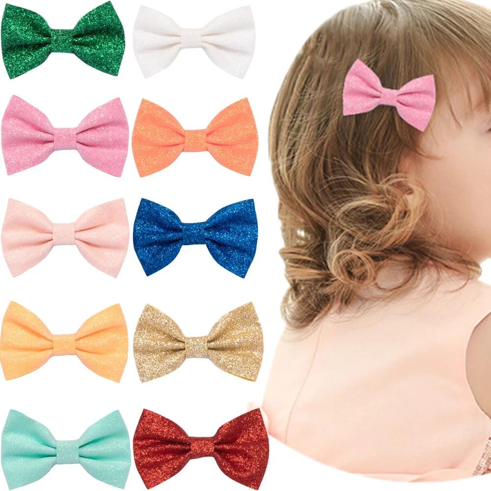 glitter bow hair accessory black glitter headband bow Black glitter hair bow girls glitter black baby bow hair clip hair accessories