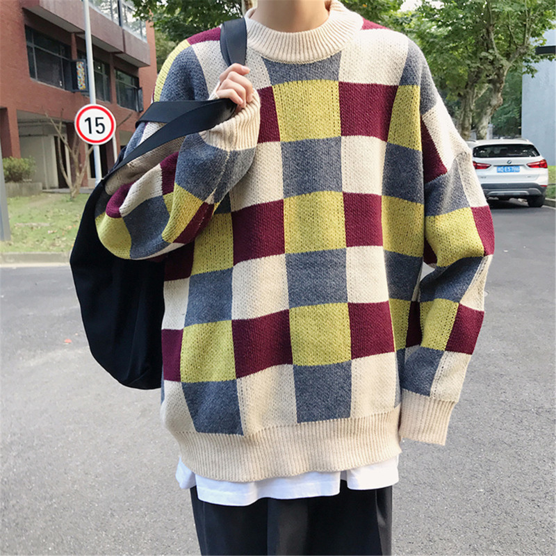 Winter New Plaid Sweater Men Warm Fashion Contrast Color Casual O-neck Knit Pullover Man Streetwear Loose Sweater Male Clothes