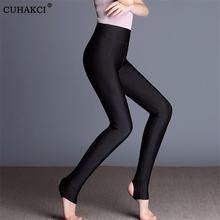 Cuhakci однотонные флуоресцентные черные леггинсы женские повседневные