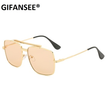 GIFANSEE Classic pilot Oversized Men Sunglasses Luxury Brand Women Glasses Square retro Oculos de sol Male UV400 shades Eyewear gm wood bamboo sunglasses with aluminum metal frame men women vintage square sunglasses shades eyewear uv400 oculos de sol