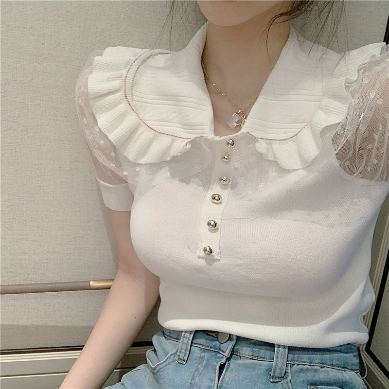 Women Sweet Ruffles Peter Pan Collar Short Sleeve Knitted T-shirts Tops Lady Patched Mesh Tshirt Pullovers Crop Tops For Girls