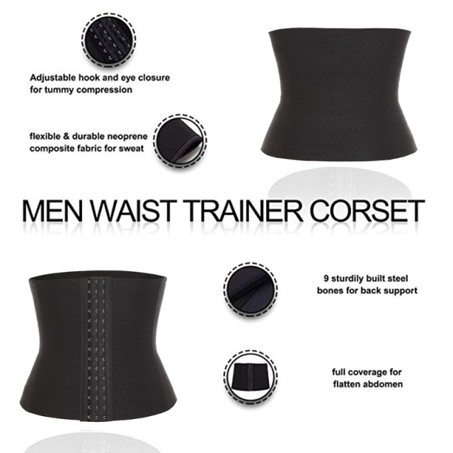 Waist Trimmer Men Waist Trainer for Weight Loss Sweat Belt Belly Fat Slimming Stomach Band Back Support Neoprene Corset Shaper 4