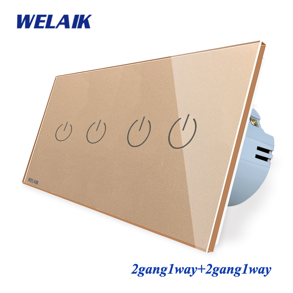 WELAIK Brand manufacturer 2Frame Crystal Glass Panel Wall Switch EU Touch Switch Light Switch 2gang1way AC110