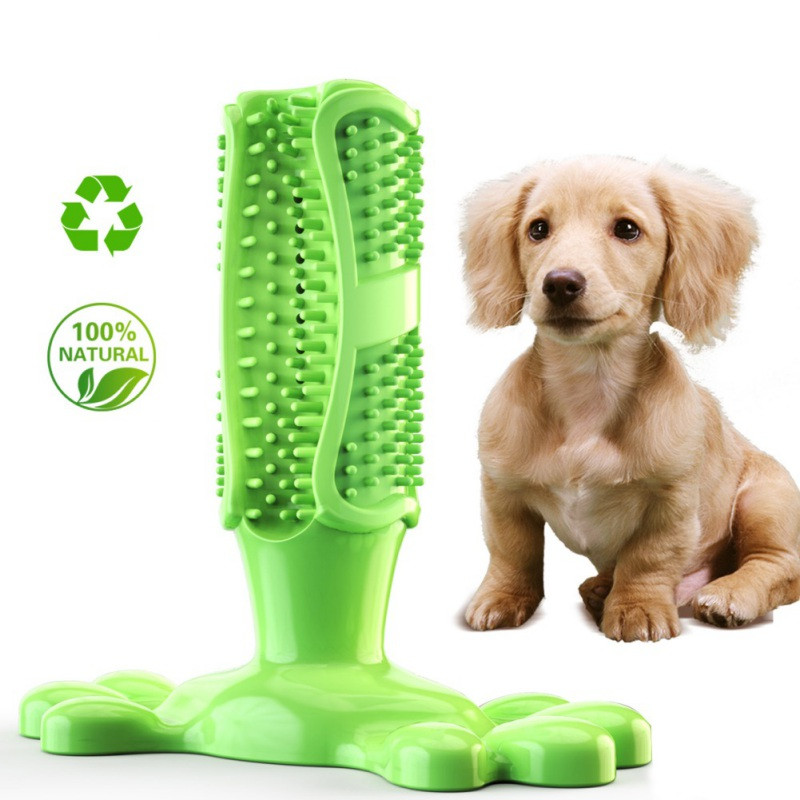 Pet Dog Toothbrush Chew Toy Doggy Brush Stick Soft Rubber Teeth Cleaning Dot Massage Toothpaste for Small Dogs Pets Toothbrushes image