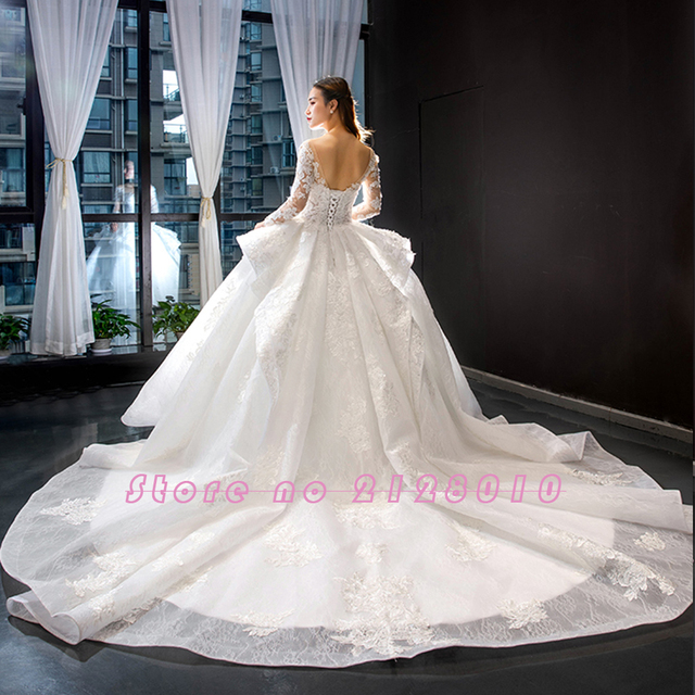 New Arrivals Gorgeous Long Sleeve Beading Lace Wedding Dress China Shop Online Vestido De Noiva Princesa 6