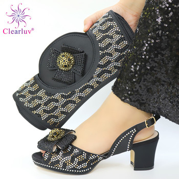 New Arrival Italian Matching Shoe and Bag Set for Wedding Plus Size Shoes Women Heel Sales In Women Matching Shoes and Bag Set