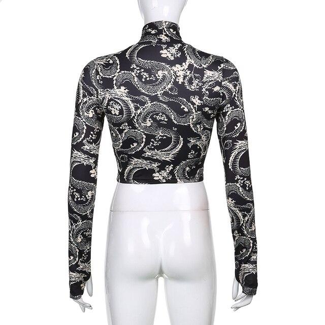 Turtleneck T-Shirt with dragon pattern