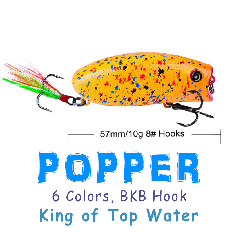Água superior 6 cores 5.7cm/10g popper popa isca artificial plástico isca dura 5.7/10g pena biônica iscas de pesca água superior