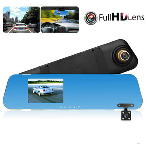 4.3 inch Car DVR Mirror Car Dvr Camera HD 1080P Rear View Mirror Digital Video Recorder Dual Lens Auto Dash Cam(China)