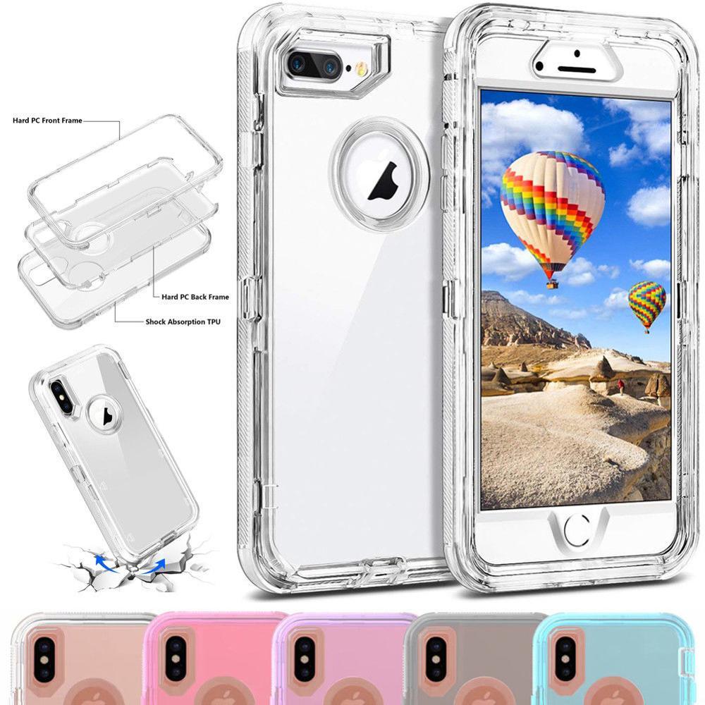 Сверхпрочный бронированный чехол с кристаллами для iPhone 11 Pro Max XR XS Max X 8 7 6 6S Plus 3 в 1 PC и TPU, прозрачная задняя крышка с полным покрытием