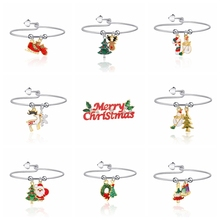 merry christmas santa bangles bracelets for women deer snowflake tree trendy gifts