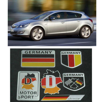 6pc Car Sticker For opel astra h astra j insignia astra g corsa d vectra Motorcycle Car Accessories Germany Flag Aluminum Alloy фото