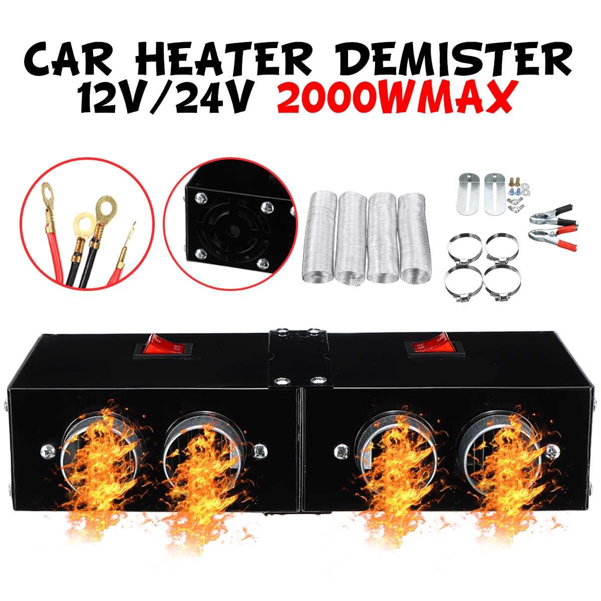 Автомобильный обогреватель 2000 Вт, 12 В/24 В, устройство для размораживания, 2/4 отверстий, высокая мощность, противотуманная машина, автомобиль...
