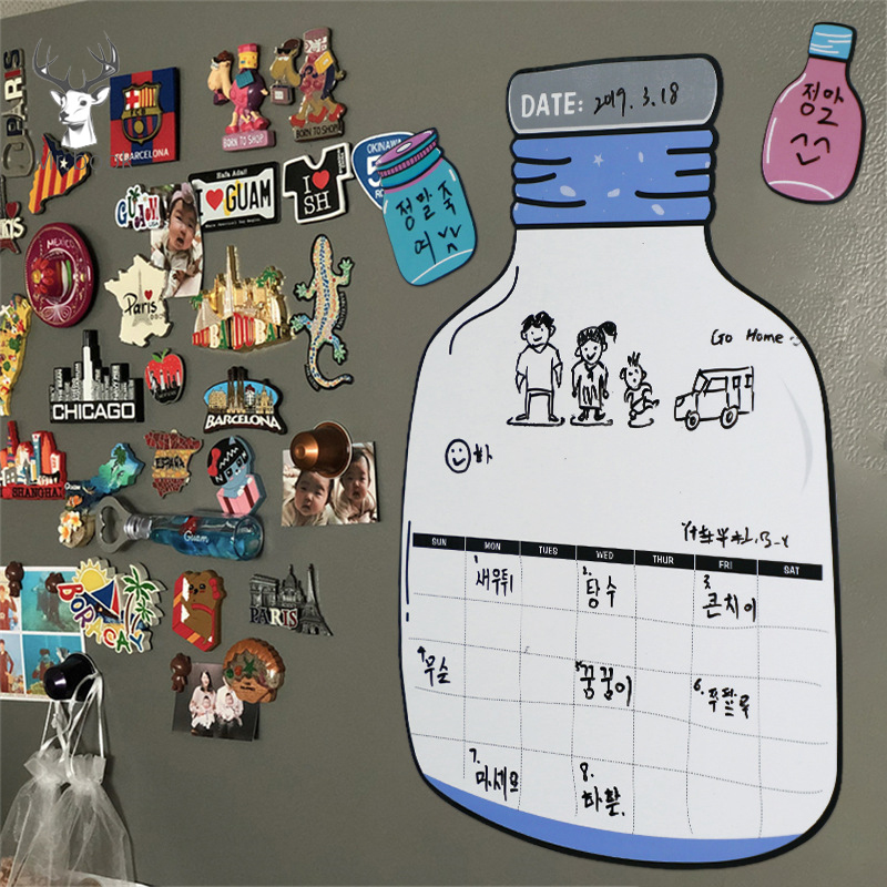 Funny Bottle Design Magnetic Dry Erase Calendar Fridge Sticker White Board Family Schedule Week Monthly Planner Time Management
