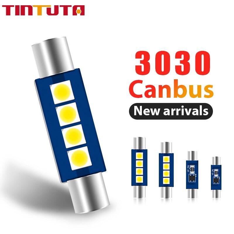 10 шт. гирлянда светильник C5W T6 автомобиля Led 28 мм 30 мм светодиодные лампы 3030 Canbus внутренняя Лицензия плиты лампы 12V светильник источник белые ...