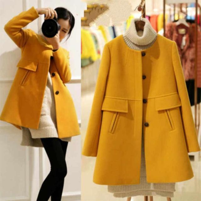 Ladies Woolen Winter Warm Coat Plus Size Solid Color Overcoat A-shaped Long Sleeve Coat Women Outwear