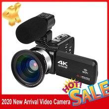 KOMERY nowe wydanie kamera wideo 4K WiFi 48MP wbudowany ekran wypełniający światło dotykowy Vlogging do aparatu cyfrowego Youbute Recorder